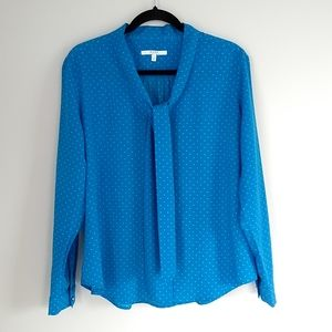 Alfred Sung women's blue long sleeve blouse size L